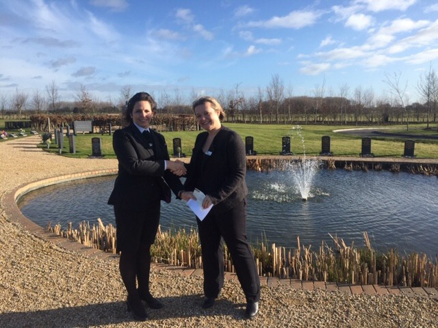 Natalie Clements presents a cheque for £7000 to Emma Radley of Winston's Wish